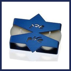 Candleholder Travel Aluminum Blue or Silver - 3 Inches W X 2.75 Inches D X 5/8 Inches H Uses Tea Lights - Made In Israel By Adi Sidler