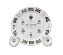 "Seder Plate Heirloom w/matching Dishes 15"" Diam"