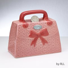 "TZEDAKAH BOX, PINK PURSE, CERAMIC, 5.5"" x 5"""