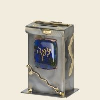 Tzedakah Box Copper Glass In Assorted Colors 7.5 Inches H X 2.5 Inches D X 4.25 Inches W  Design By Gary Rosenthal