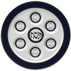 Seder Plate Porcelain Round Blue and White