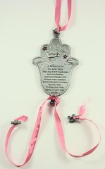 Wall Hanging Chamsah Baby Blessing Pink Pewter 3.75 Inches X 2.25 Inches
