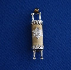 "Charm Torah With Star Of David Satin Finish 14 Kt Yellow And White Gold,  1-1/4"" L X 1/4"" W - 20"" -14kt Chain Sold Separately"