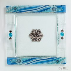 Matzah Plate Glass Azure by Lily Art - Made in Israel