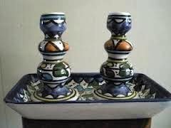 Candleholder Armenian Flowers Ceramic Size: 4.75 Inches H X  2.5 Inches Diam Base  With Matching Tray 8 Inches L X 4.25 Inches W, Made In Israel