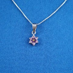Necklace Mini Star Of David 1/4 Inches Size Pink Or White Stones Available  INCLUDES 16 Inches STERLING SILVER CHAIN - Sterling Silver