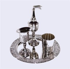 Havdallah Set Jerusalem Design, Nickel Finish, 4 Pc. Set  Made In Israel