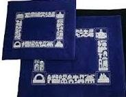 Talit and Tefilin Bag Royal Blue Velvet with Jerusalem Design Embroidered in Silver - Made in Israel