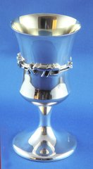 Contemporary Sterling Silver Kiddush Cup 5.25 Inches Tall, Made In Israel