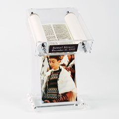 "Acrylic Torah Stand w/moveable Torah and 4"" x 6"" Photo Frame"