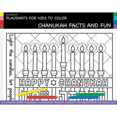 "Placemats for Kids to Color ""CHANUKAH FACTS AND FUN"