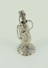 Filigree Rabbi Holding Torah Sterling Silver 3-1/2 Inches Tall,  One Of A Kind - Made In Israel