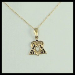 "Star Of David Heart 14 Kt Gold With Saphires, 3/4 Inches X 3/4 Inches ,  18"" And 20"" - 14 Kt Gold Chain Sold Separately"