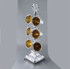 Liquor Set Of 6 Cups 1.5 Inches Tall With Standholder  ONE OF A KIND - Sterling Silver, Made In Israel