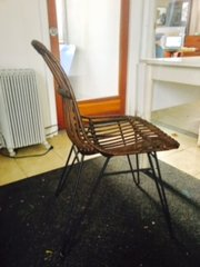 crate and barrel rattan and metal occasional chair
