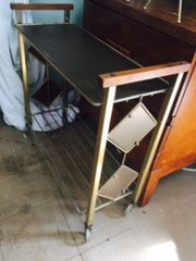 retro diamond narrow bar cart