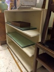 Cool vintage solid open ended bookcase painted off-white