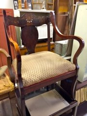 very special mahogany armchair with mother-of-pearl inlay very easily recovered