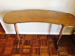 antique cherry kidney shaped entry table with custom glass