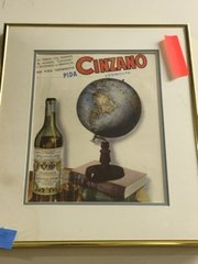 vintage framed and matted cinzano print from argentina
