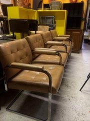 "Set of FOUR very special mid-century chrome base ""leather"" chairs"