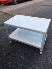 stainless steel media table/coffee table on casters