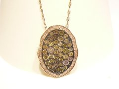 Multi Fancy colored diamonds oval necklace Rose Gold
