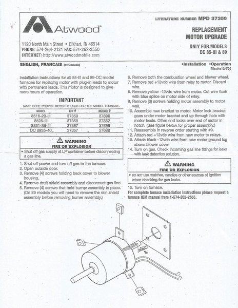 Atwood Furnace Blower Motor 37358 Pdxrvwholesale