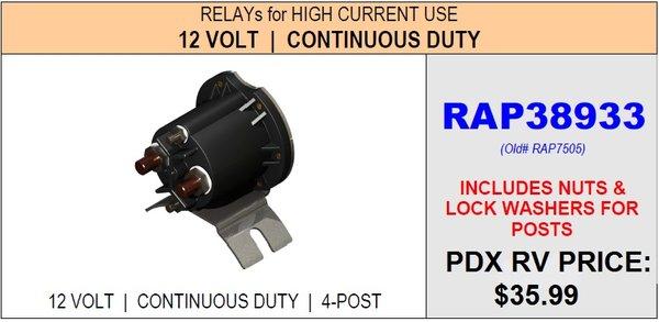 Hwh Continuous Duty Pump Relay Rap38933 Pdxrvwholesale