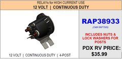 HWH Continuous Duty Pump Relay, RAP38933