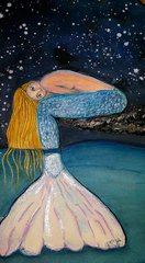 SOLD - Mixed Media Mermaid, Things aren't always on the surface as they appear...