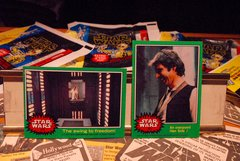 STAR WARS 1977 trading cards #251 & #219, Han Solo, Luke Skywalker, Princess Leia Organa ORIGINAL