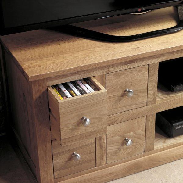 baumhaus mobel solid oak four drawer television cabinet fully assembled baumhaus mobel solid oak fully