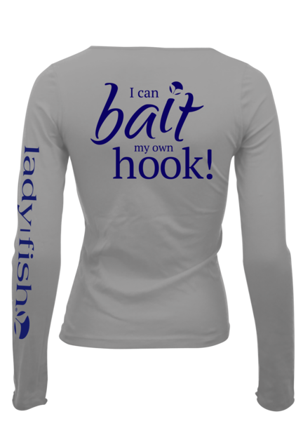I can bait my own hook upf long sleeve shirt grey navy for Womens fishing shirts