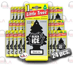 Little Trees Hanging Car and Home Freshener, Black Ice(Pack of 24)