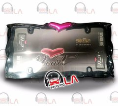Black Twist Pink Heart License Plate Tag Frame for Auto-Car-Truck