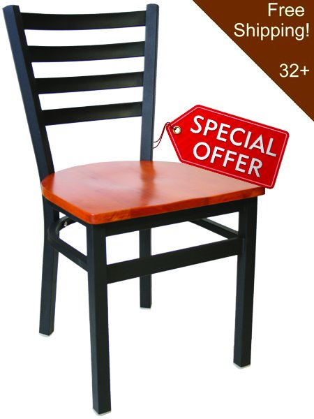 Metal Ladderback Restaurant Dining Bar Stool Black Frame