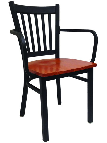 Metal Ladderback Restaurant Dining Chair With Arms