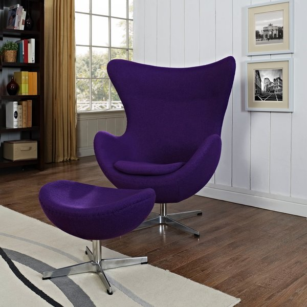Arne Jacobsen Egg Chair ottoman Purple Take 1 Designs
