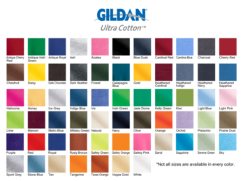 Gildan 2000 Ultra Cotton Shirt Colors