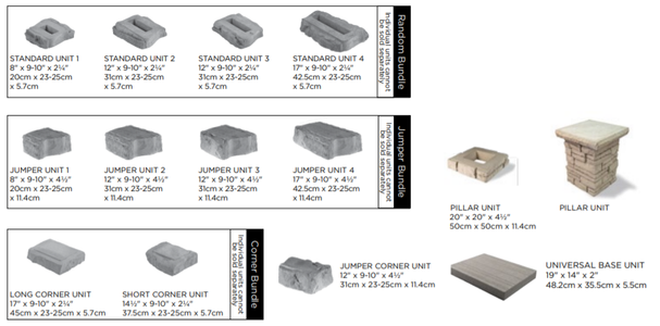 Unilock Rivercrest Landscape Wall Block Sizes and Dimensions