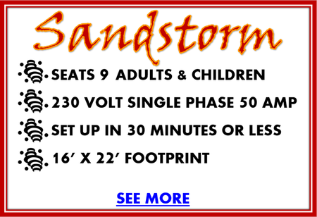 Sandstorm carnival rental ride details, seats 9 adults and children, 230 volt single phase, 50 amp, set up in 30 minutes or less, 16'x22' footprint, see more