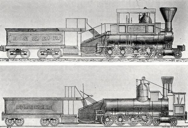 A 4-8-0 camel, probably the very first 4-8-0, Centipede as built in 1855, below, and as modified for the B&O Railroad in 1864, above. Note the sloping firebox.