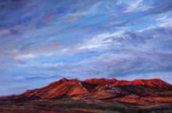 Riding the Red Dawn, Los Caballos formation near Marathon, TX, pastel landscape painting by Lindy Cook Severns