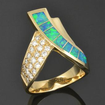 Australian opal ring with diamonds by The Hileman Collection