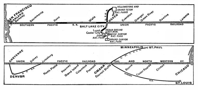 Route diagram with connections of the San Francisco Overland Limited in 1943.