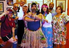 Cast of Host a Downloadable DIY Hawaiian Luau Murder Mystery Party Kit: Hulas and Homicide from Della Freedman in Charlotte, North Carolina
