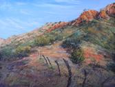 Crossroads, pastel landscape of Davis Mts ranchland by Lindy C Severns