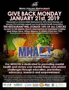 Support MHA at Bona Italian Restaurant January 21st