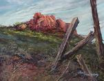 "Red Cliffs and old fenceposts ranch pastel Lindy C Severns ""Sunspot"""